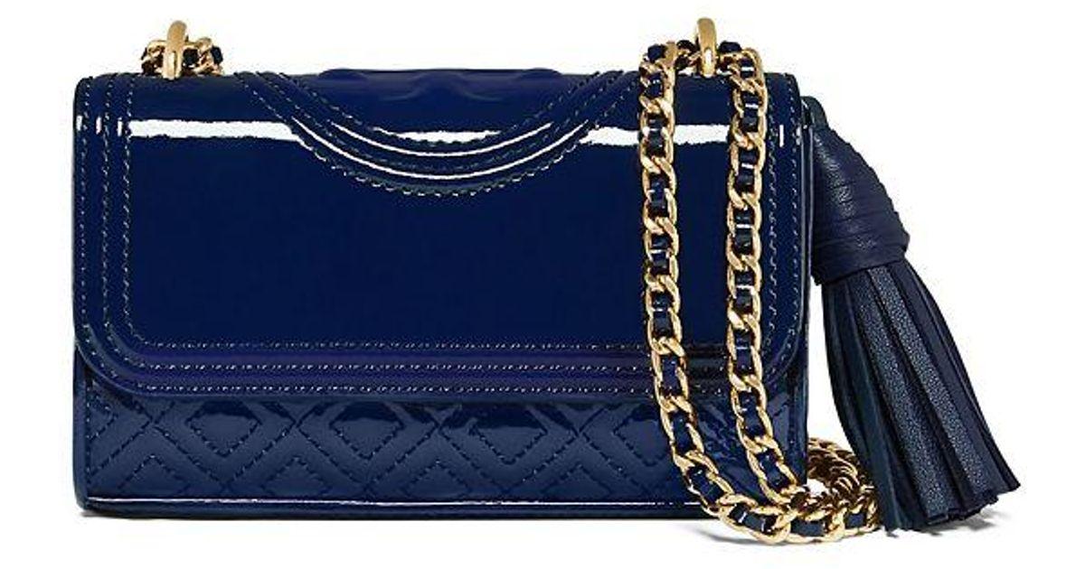 fba147f272b0 Lyst - Tory Burch Fleming Patent Micro Shoulder Bag in Blue