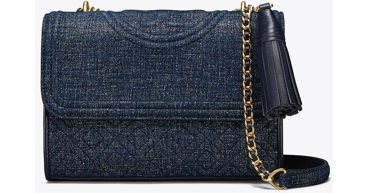 bd5d9592d56 Tory Burch Fleming Suede Small Convertible Shoulder Bag in Blue - Lyst