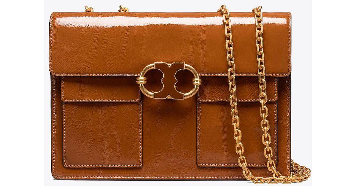 5479f5f36c36 Tory Burch Gemini Link Patent Medium Chain Shoulder Bag in Brown - Lyst