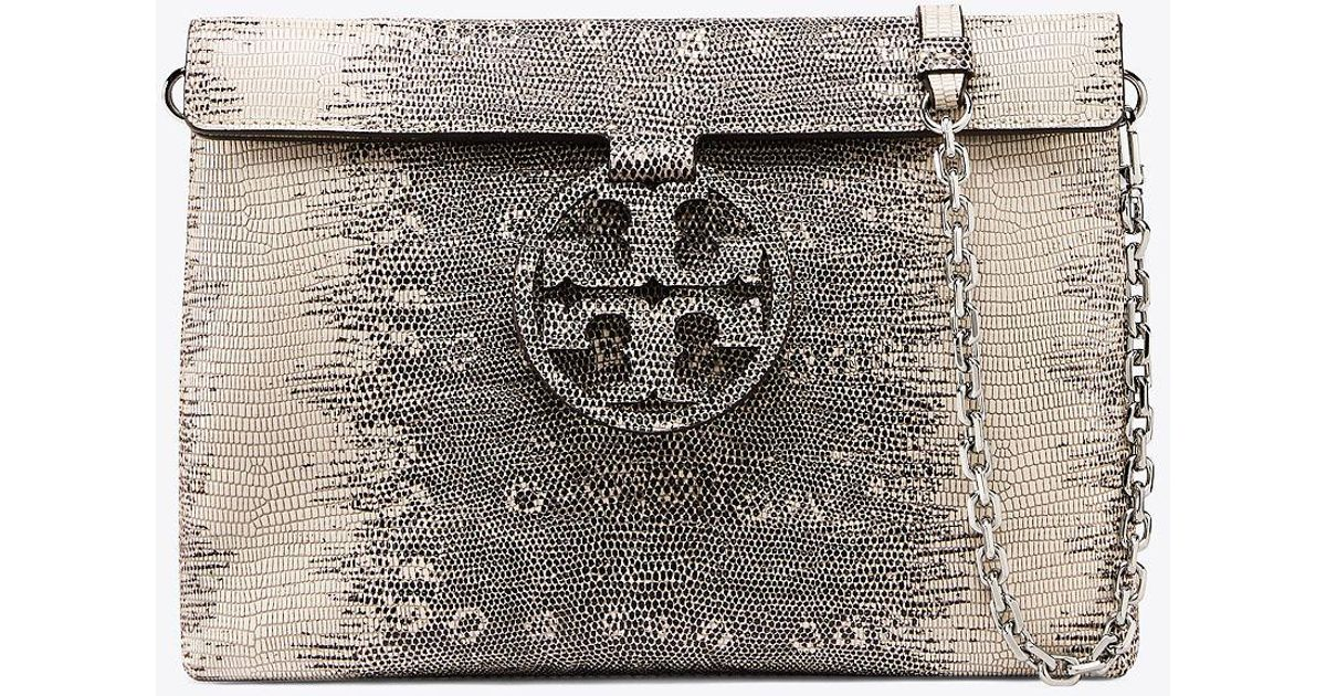 a7b99df9ce2 Lyst - Tory Burch Miller Embossed Convertible Flap Clutch
