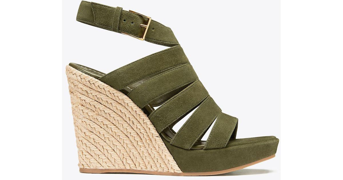 009ee7e8b8df Lyst - Tory Burch Bailey Multi-strap Wedge Espadrille in Green