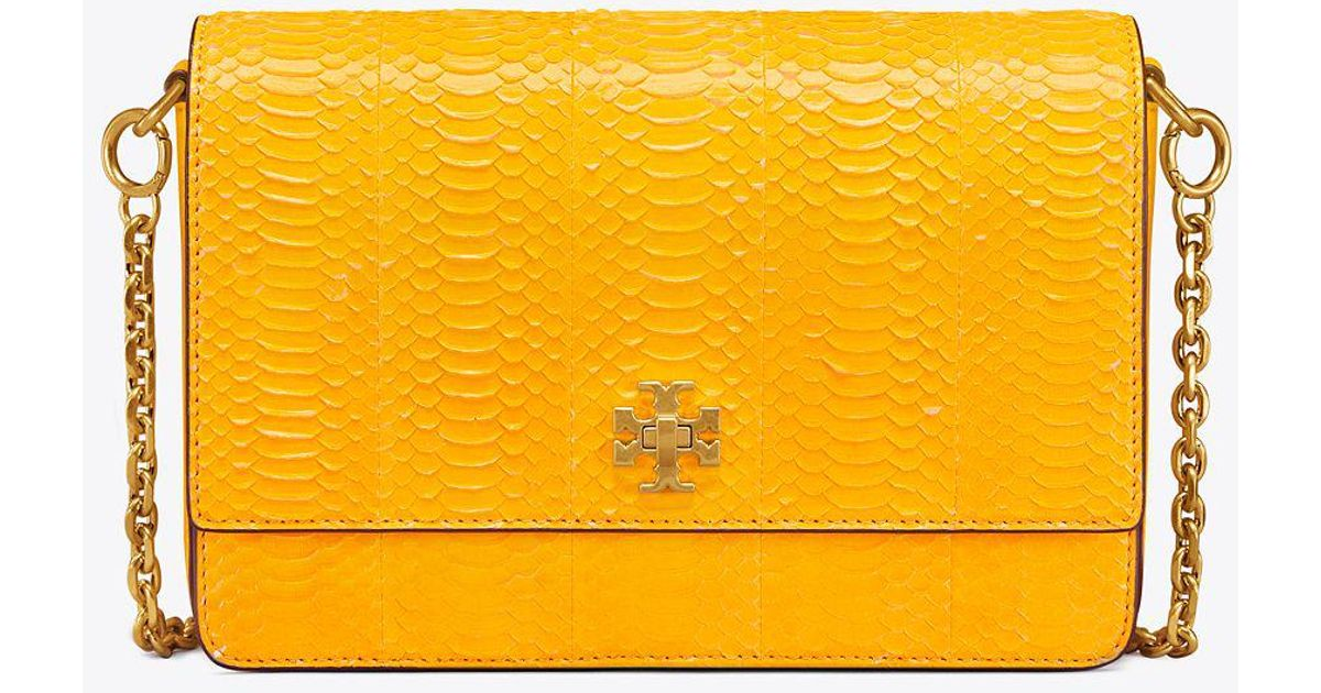 11ec8c36388f Lyst - Tory Burch Kira Snake Double-strap Shoulder Bag in Yellow