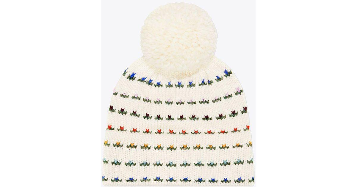 Tory Burch Knit Fair Isle Hat in Natural - Lyst