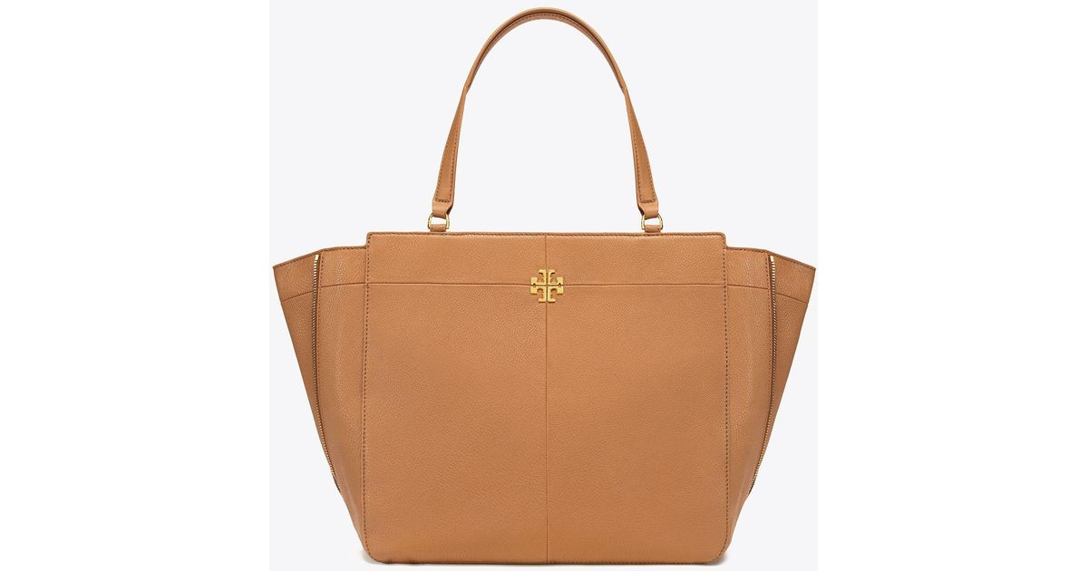 Tory Burch Ivy Side Zip Leather Tote In Brown Lyst