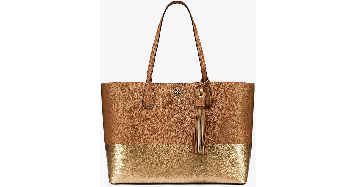 589f0782a85 Lyst - Tory Burch Color-block Perry Tote in Brown