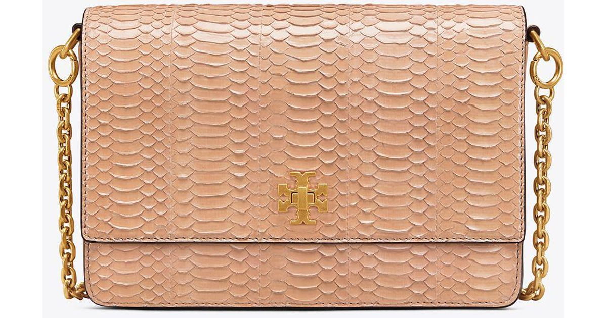 d697a35b5e5a3 Lyst - Tory Burch Kira Snake Double-strap Shoulder Bag in Natural