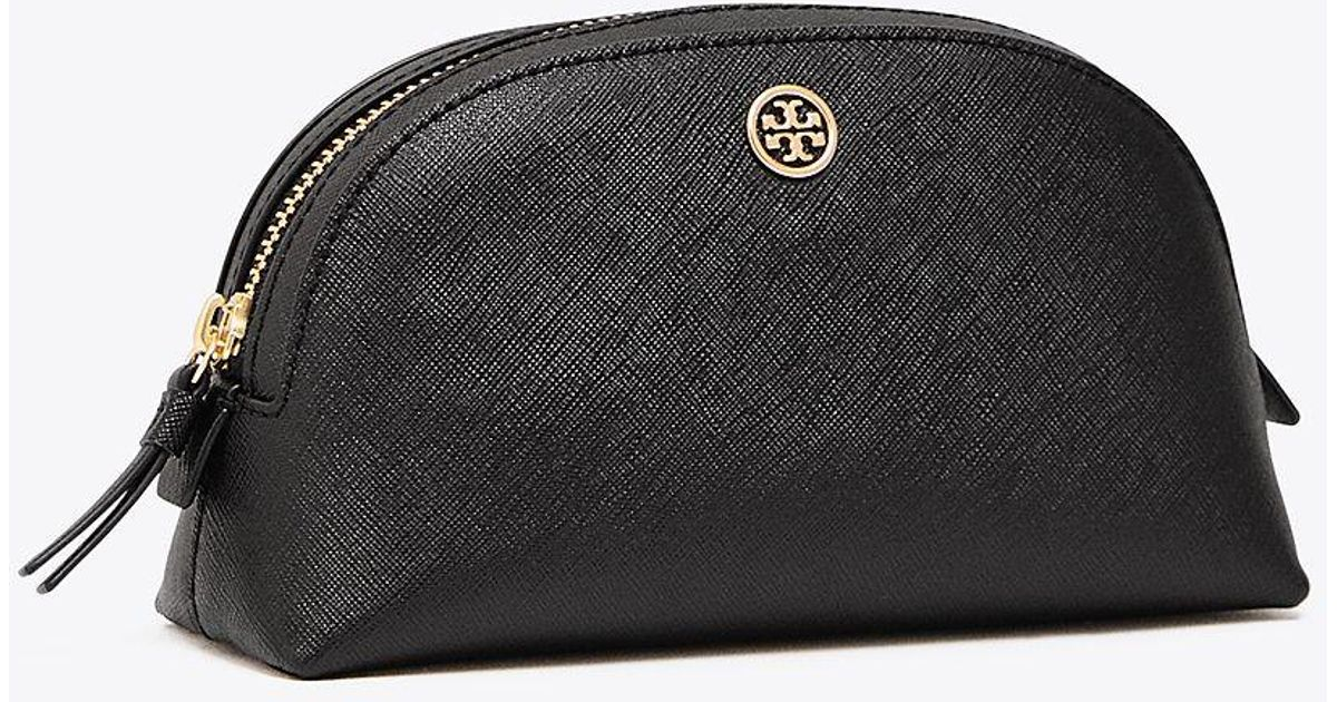 a64c4115b7a Lyst - Tory Burch Robinson Small Saffiano Leather Makeup Pouch in Black -  Save 9%