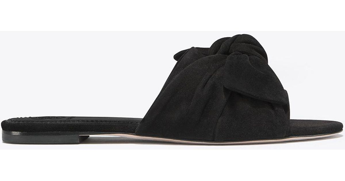 12a836e04c93ca Lyst - Tory Burch Annabelle Suede Bow Slide in Black