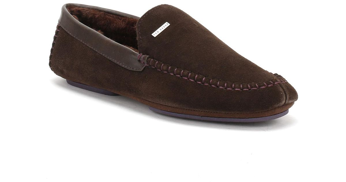 0002bdd3cb10 Lyst - Ted Baker Mens Brown Suede Moriss 2 Slippers in Brown for Men