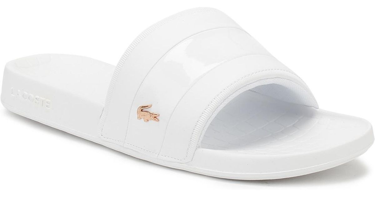 cec56629c176 Lacoste Womens White   Pink Fraisier 118 2 Slides in White - Lyst