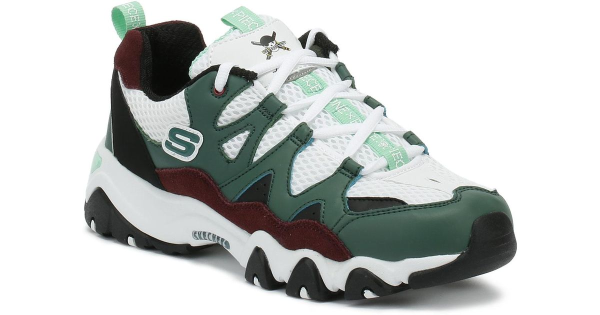 a73c61d8f217 Lyst - Skechers One Piece D lites 2 Womens White   Green Trainers in Green