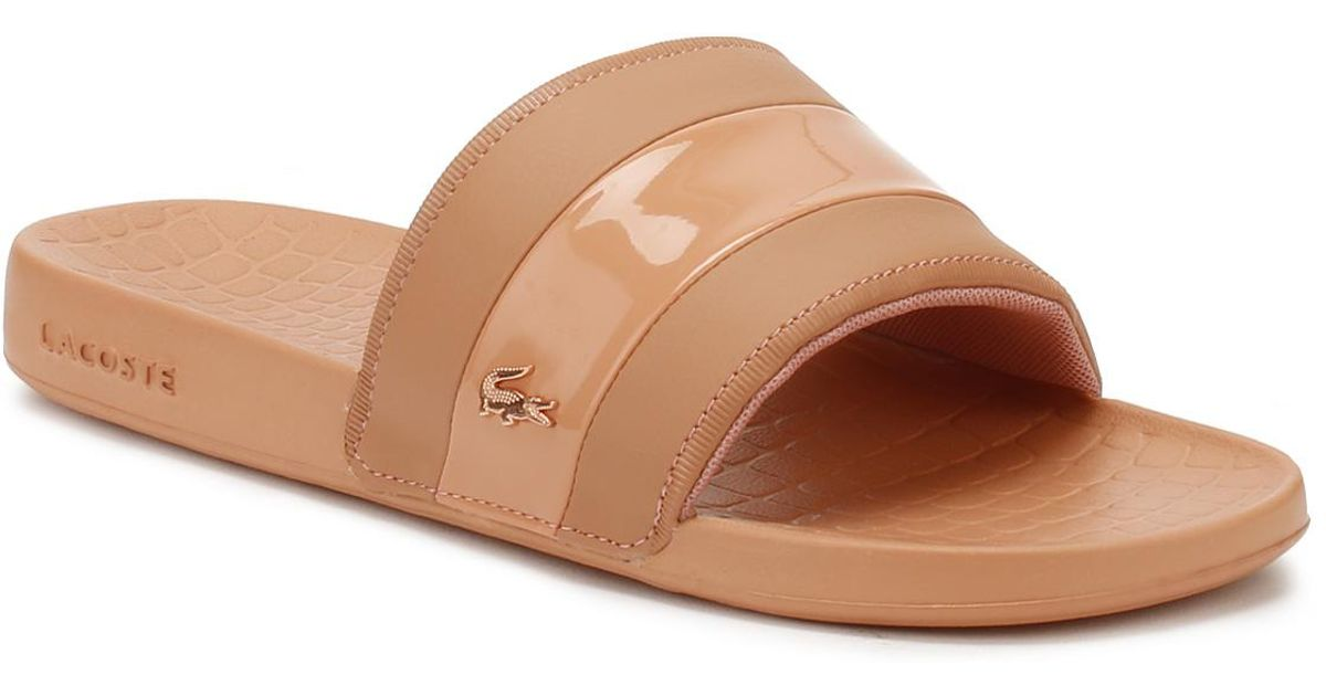 cc6d347474fb Lyst - Lacoste Fraisier Leather Slides in Pink