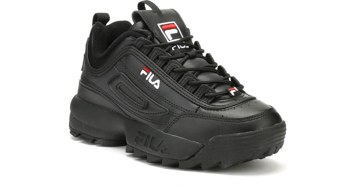 25ed46f74ab Fila Disruptor Ii Premium Black / White / Red Trainers in Black for Men -  Lyst