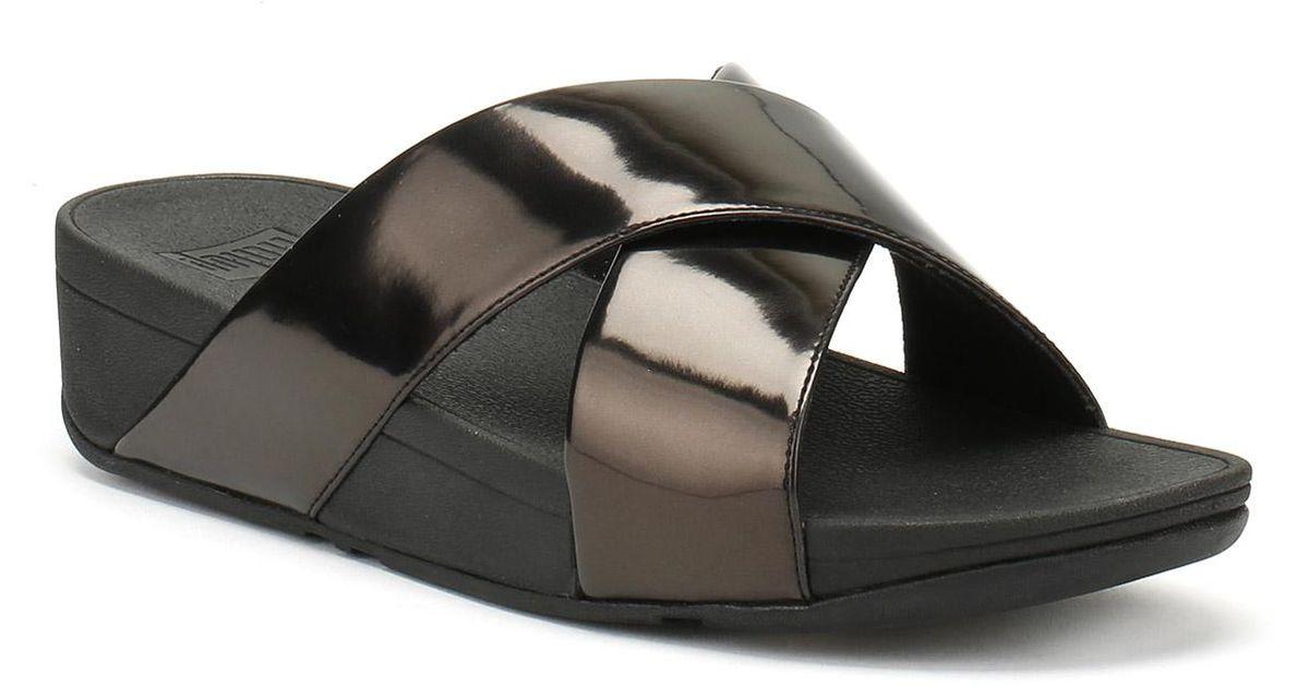 9aa714827113d Lyst - Fitflop Womens Black Mirror Lulutm Cross Slide Sandals in Black
