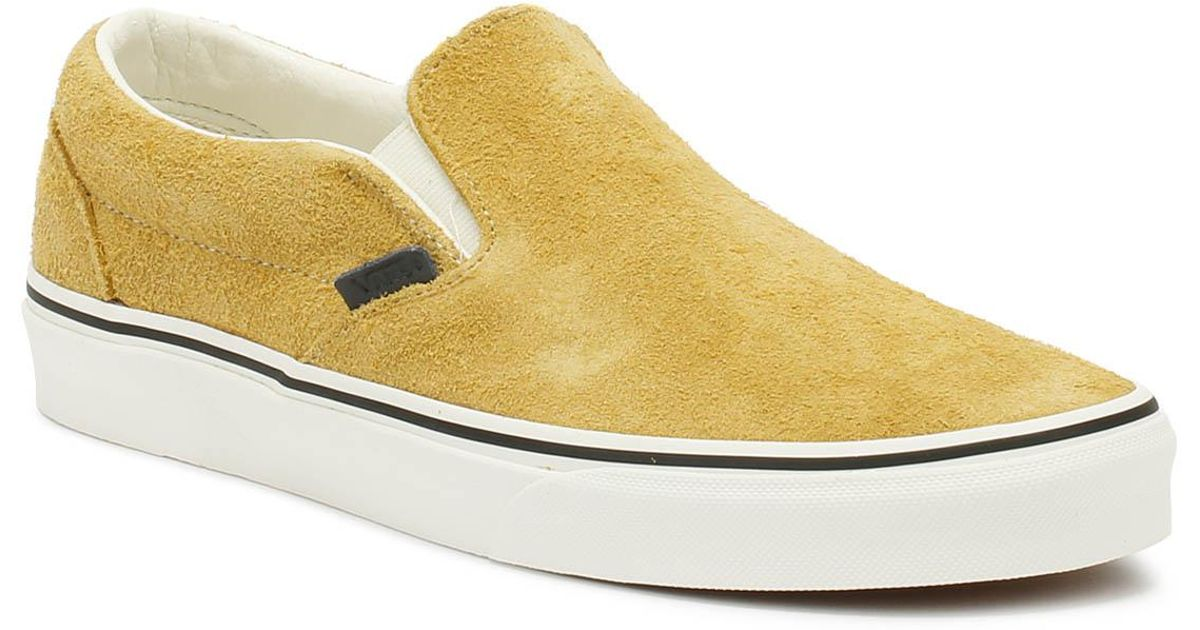 0b484f04408 Lyst - Vans Classic Slip On Hairy Suede Mens Sunflower Beige Trainers in  Natural for Men