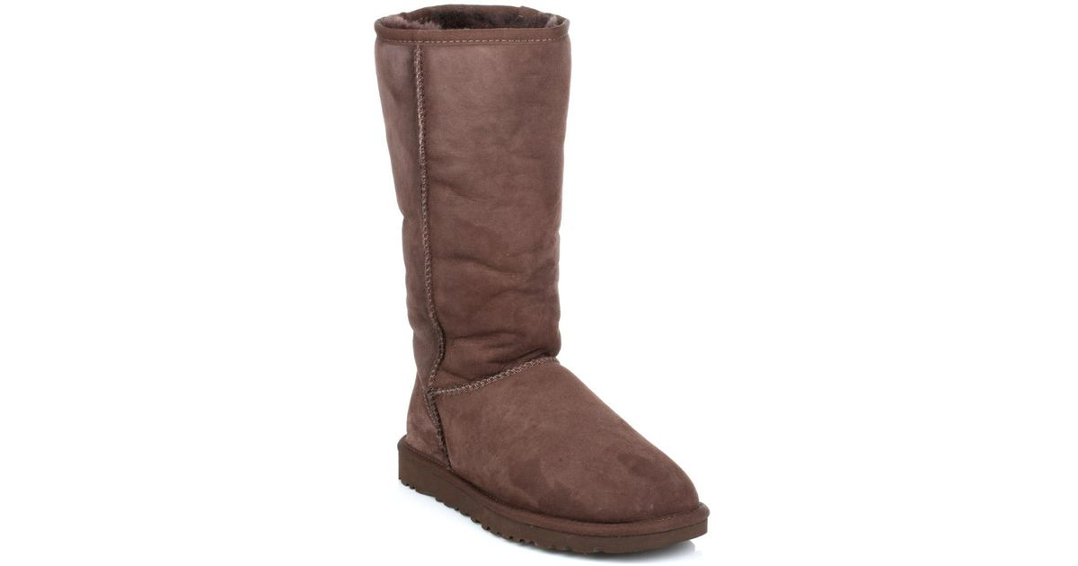 Ugg Ugg Classic Tall Womens Chocolate Brown Suede Sheepskin Boots in Brown - Lyst