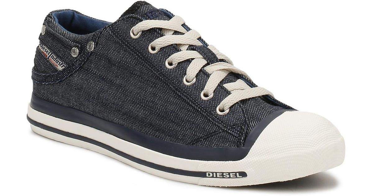 Lyst - DIESEL Mens Indigo Blue   White Denim Exposure Low Trainers in Blue  for Men 705c8f5f58f