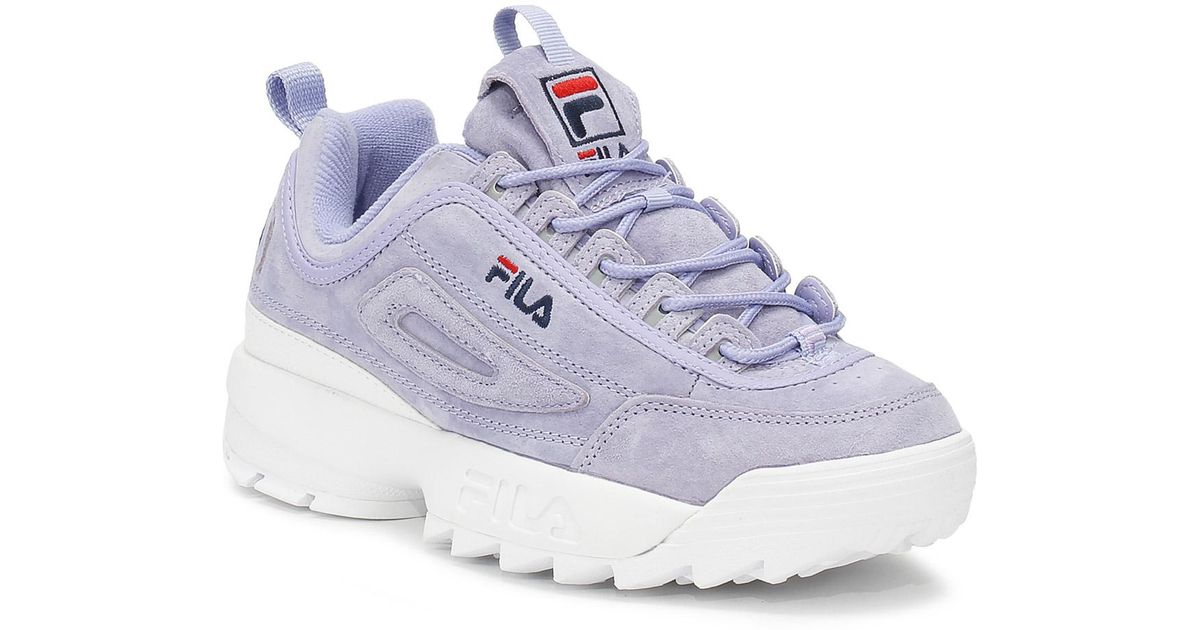 d1fe16d4787f Fila Disruptor Ii Womens Sweet Lavender Premium Suede Trainers in Blue -  Lyst