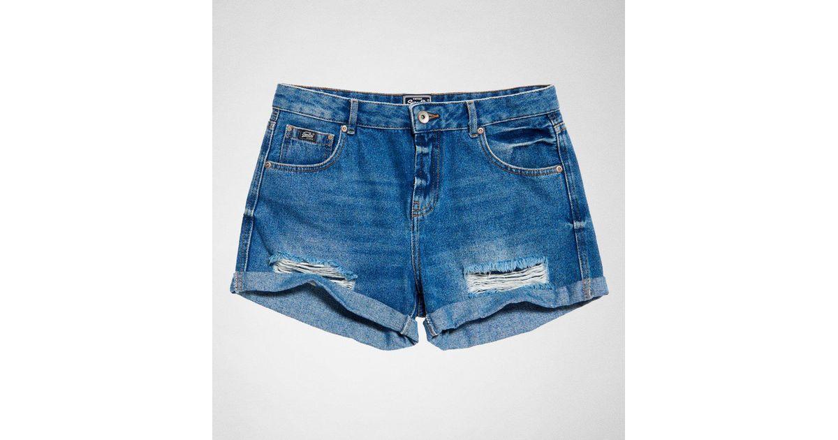 Lyst - Superdry Steph Boyfriend Short Shorts in Blue aaf1eed7439e