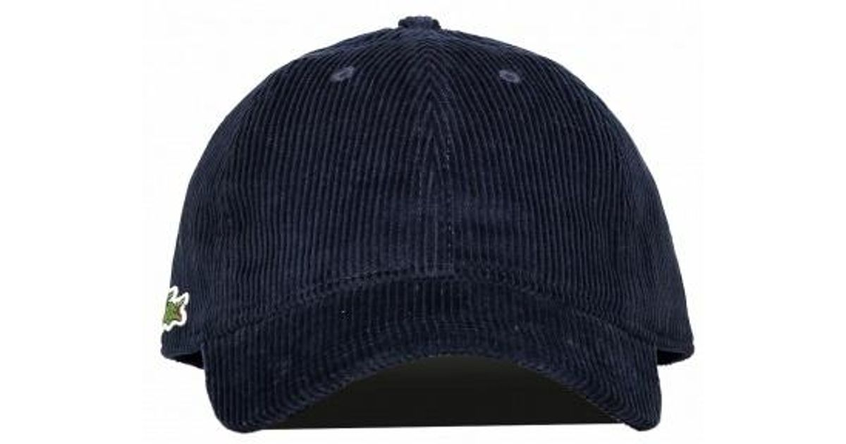 Lacoste Corduroy Logo Cap in Blue for Men - Lyst af3f3e780b3