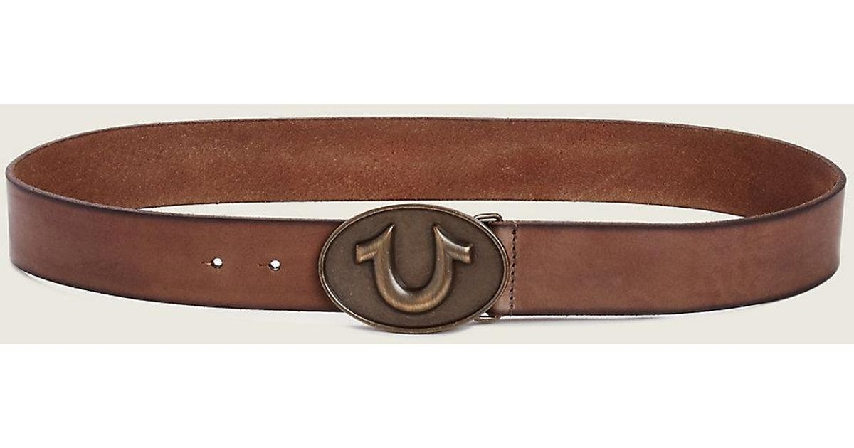 Mens leather gloves sale - True Religion Horseshoe Buckle Mens Belt In Brown For Men Lyst