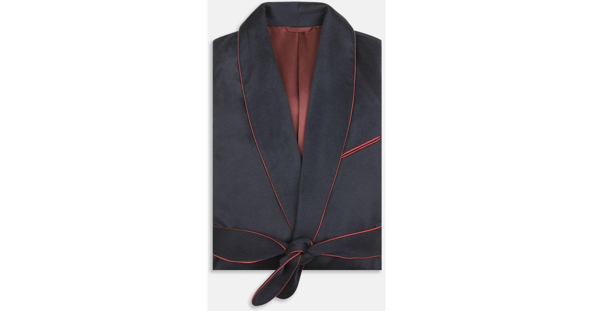 Turnbull & Asser Navy And Red Piped Cashmere Gown in Blue for Men - Lyst