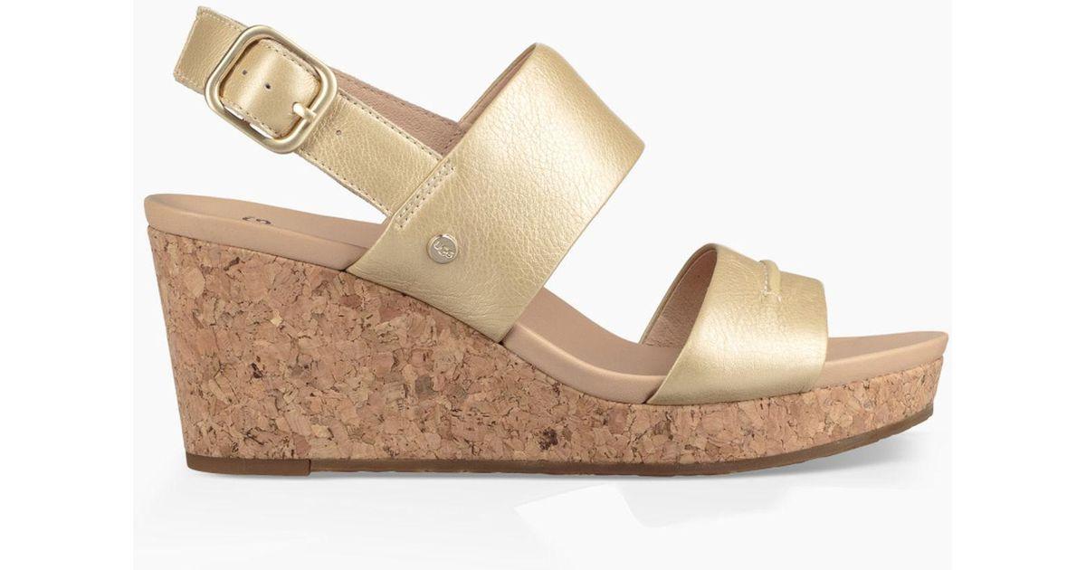 651f33be91d Ugg (r) Elena Ii Metallic Platform Wedge Sandal