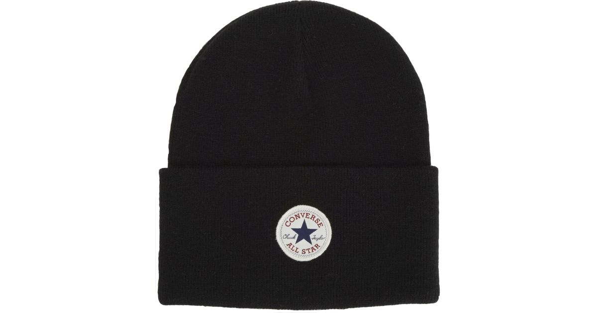 e11769cdddc Converse All Star Aw17 Knitted Beanie Hat in Black - Lyst