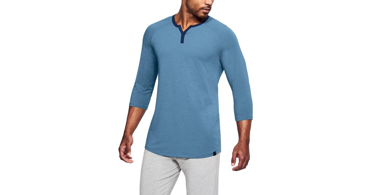 2a356e0d79f Lyst - Under Armour Men s Athlete Recovery Sleep Henley in Blue for Men