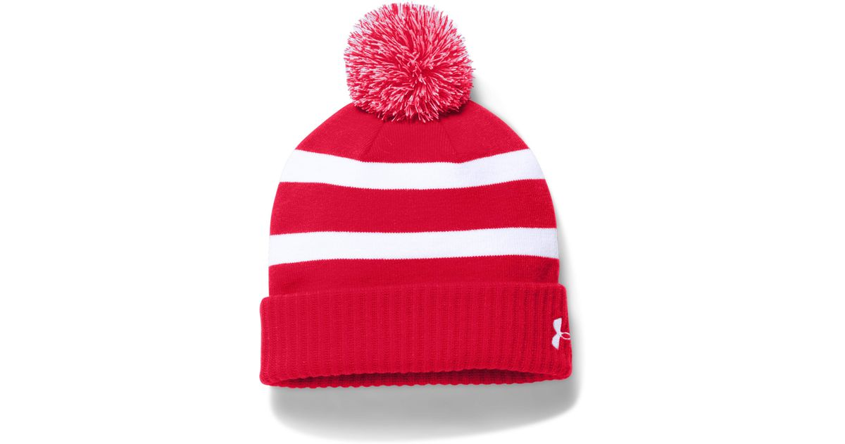 7a6bf890d37 Lyst - Under Armour Pom Beanie in Red for Men