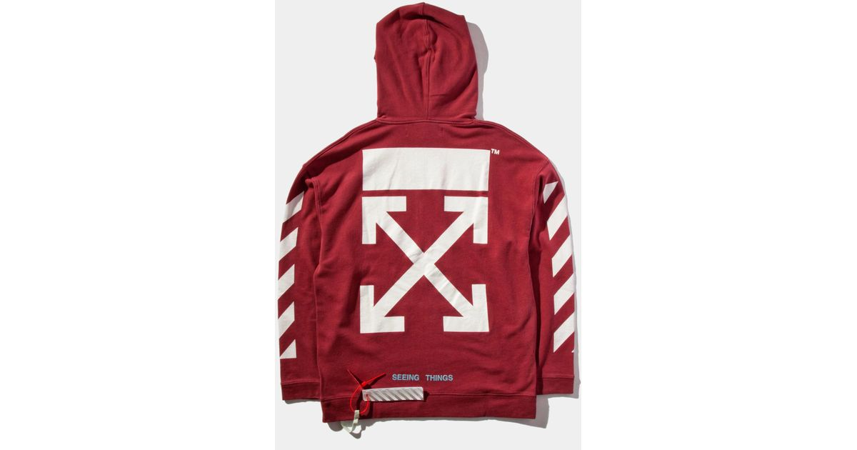 6664f61e973b Lyst - Off-White c o Virgil Abloh Diag Arrows Hooded Sweatshirt in Red for  Men