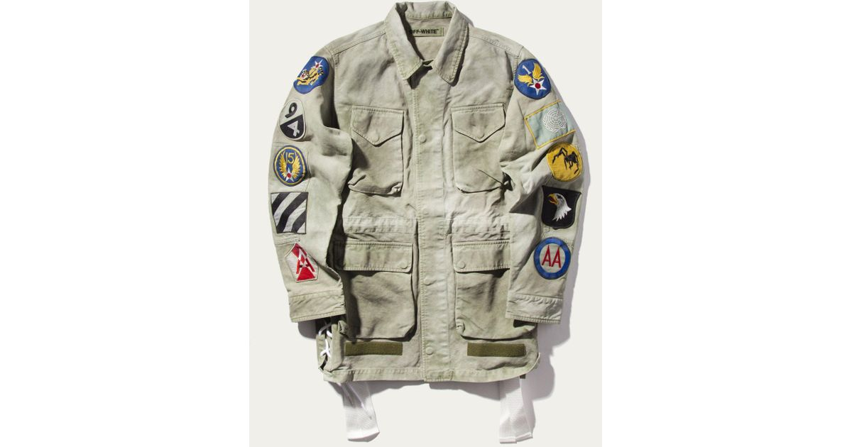 48f9668c90ee Lyst - Off-White c o Virgil Abloh Patch Cotton Field Jacket in Green for Men