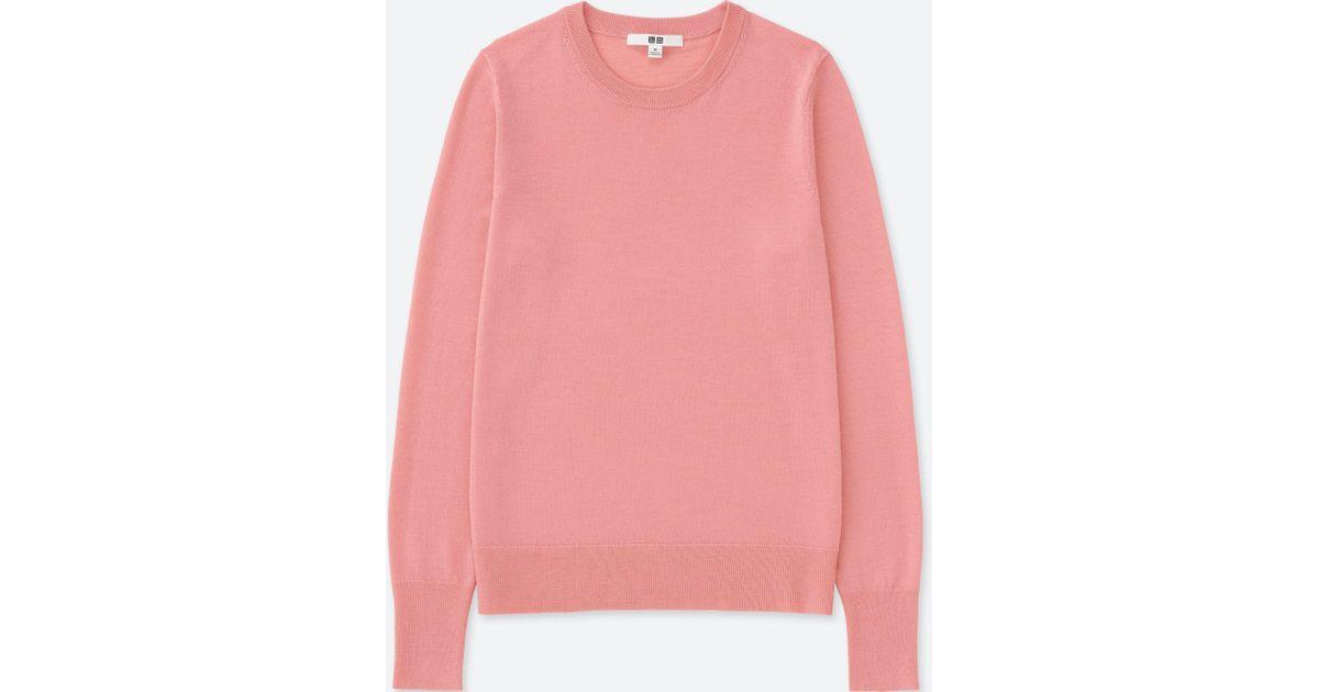 e6a0ae0d6d Uniqlo Extra Fine Merino Crew Neck Sweater in Pink - Lyst