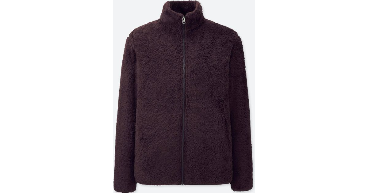 c8a60204902 Lyst - Uniqlo Men Fluffy Yarn Fleece Full-zip Jacket in Purple for Men
