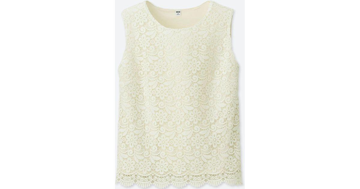 84b6dc85a Lyst - Uniqlo Women Lace Sleeveless T-shirt