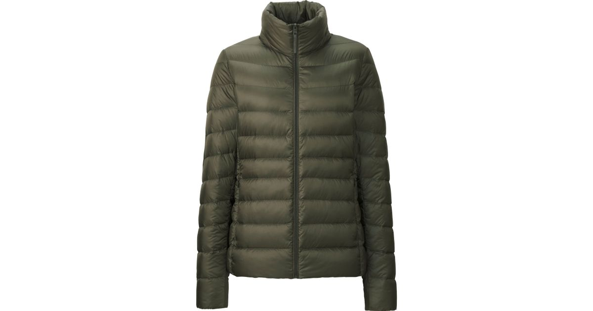 uniqlo women ultra light down jacket in green olive lyst. Black Bedroom Furniture Sets. Home Design Ideas