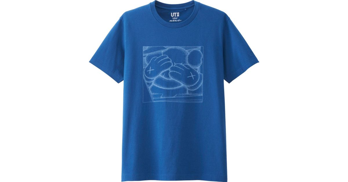 Uniqlo men 39 s kaws graphic tee japan size in blue for men for Uniqlo t shirt sizing