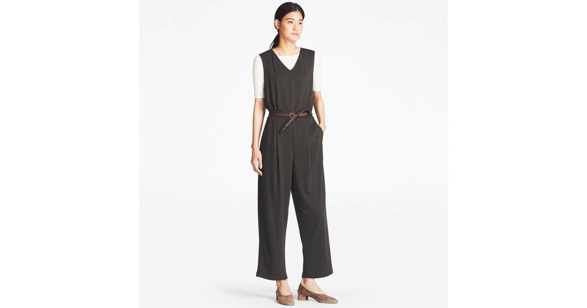b1168f13ff7e Uniqlo - Black Women Cut   Sewn V-neck Jumpsuit - Lyst