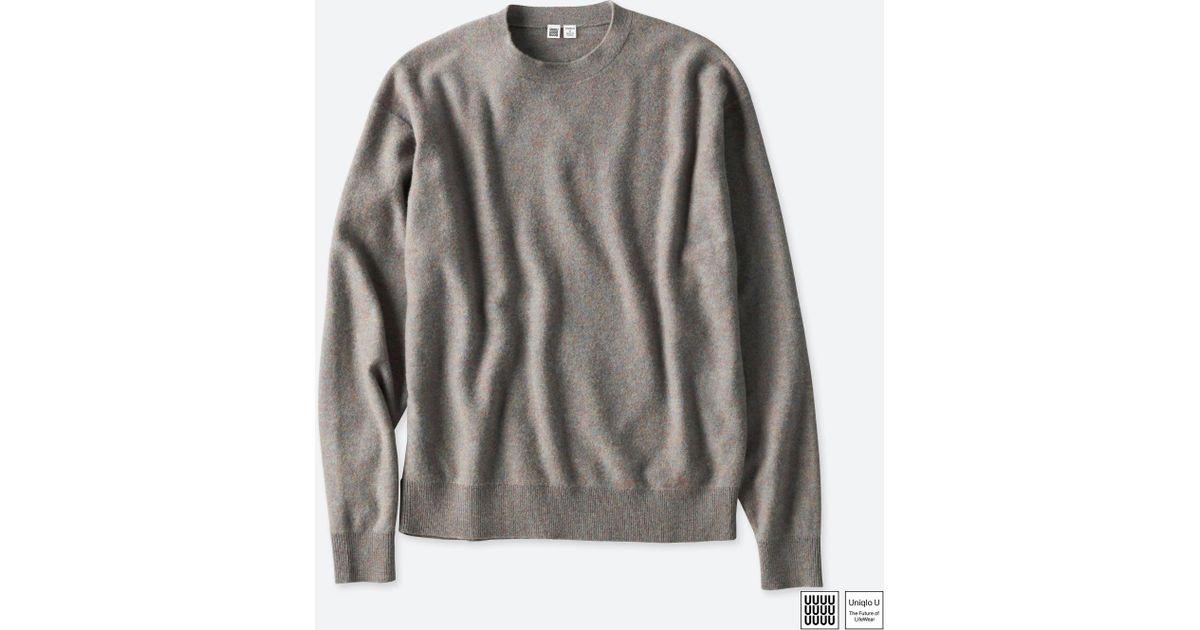 e38faec8a8ecac Lyst - Uniqlo Men U Soft Lambswool Crewneck Long-sleeve Sweater in Gray for  Men