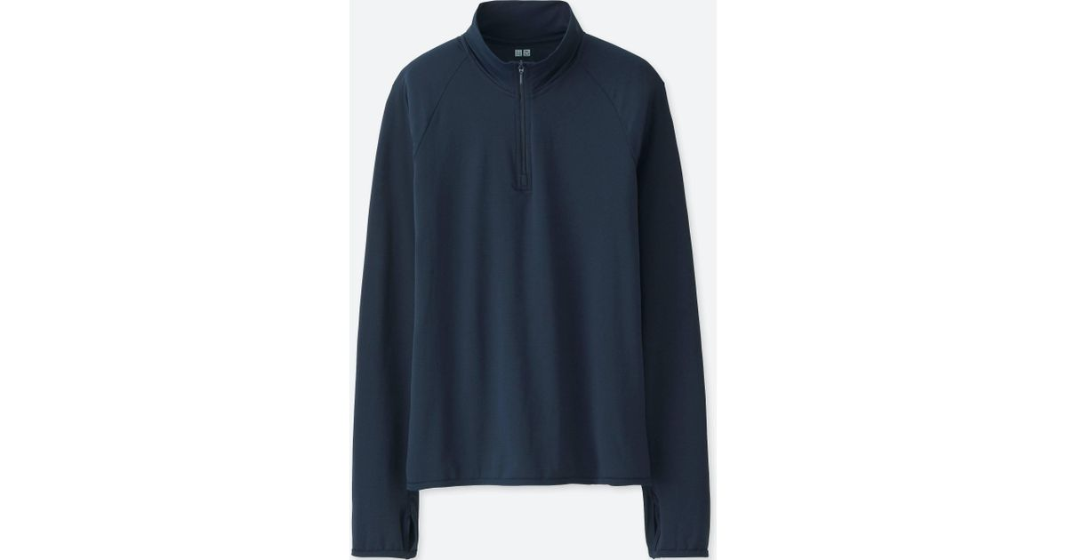 453ac8a1 Uniqlo Women Airism Uv Cut Half Zip Mesh Long-sleeve T-shirt in Blue - Lyst