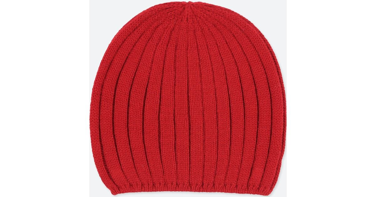 ae57a3b8155 Uniqlo Women Heattech Knitted Beanie in Red - Lyst