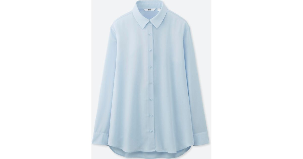 0878c9f25c976 Uniqlo Rayon Easycare Long Sleeve Blouse in Blue - Lyst