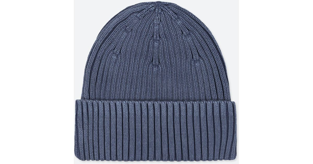 Uniqlo Ribbed Beanie in Blue for Men - Lyst 3dab4ffe7a6b