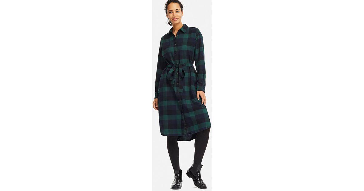 Lyst - Uniqlo Women Flannel Long-sleeve Shirt Dress in Green 18ebf358f