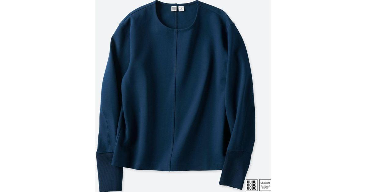 Lyst Uniqlo Women U Crewneck Long Sleeve T Shirt In Blue