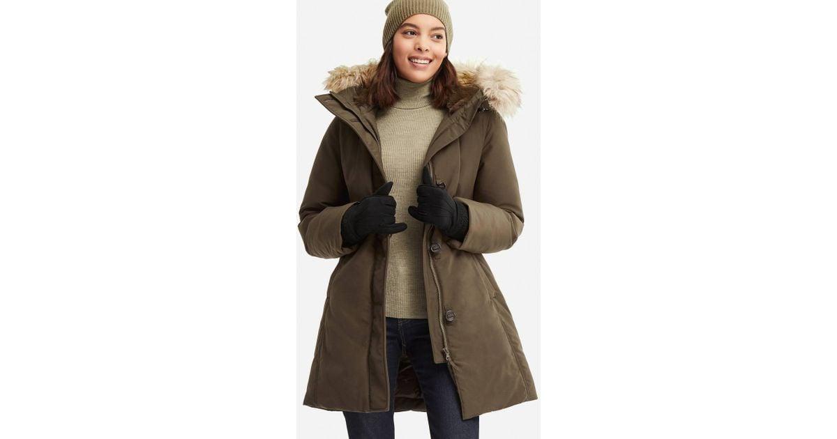 530b1c996fd Lyst - Uniqlo Ultra Warm Down Short Hooded Coat in Green - Save 40%