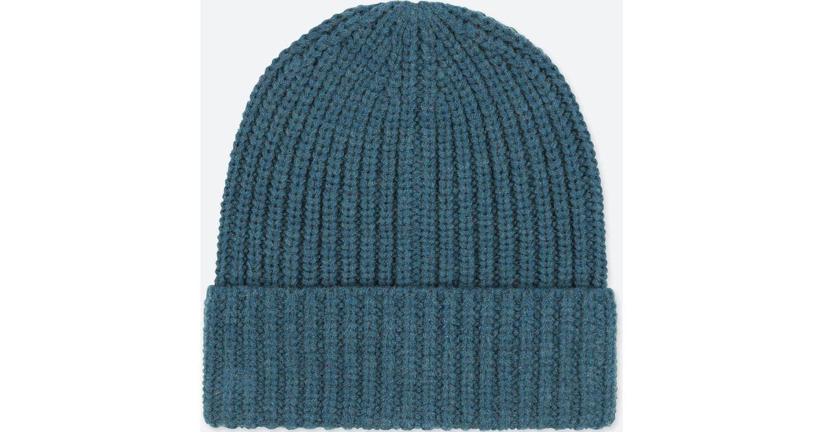 Uniqlo Heattech Knitted Beanie Hat in Blue for Men - Lyst 13eafa3564e