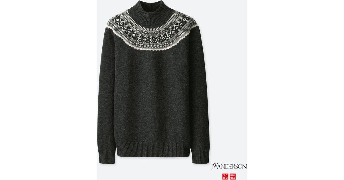 Lyst - Uniqlo Men Jwa Fair Isle Mock Neck Long-sleeve Sweater in ...