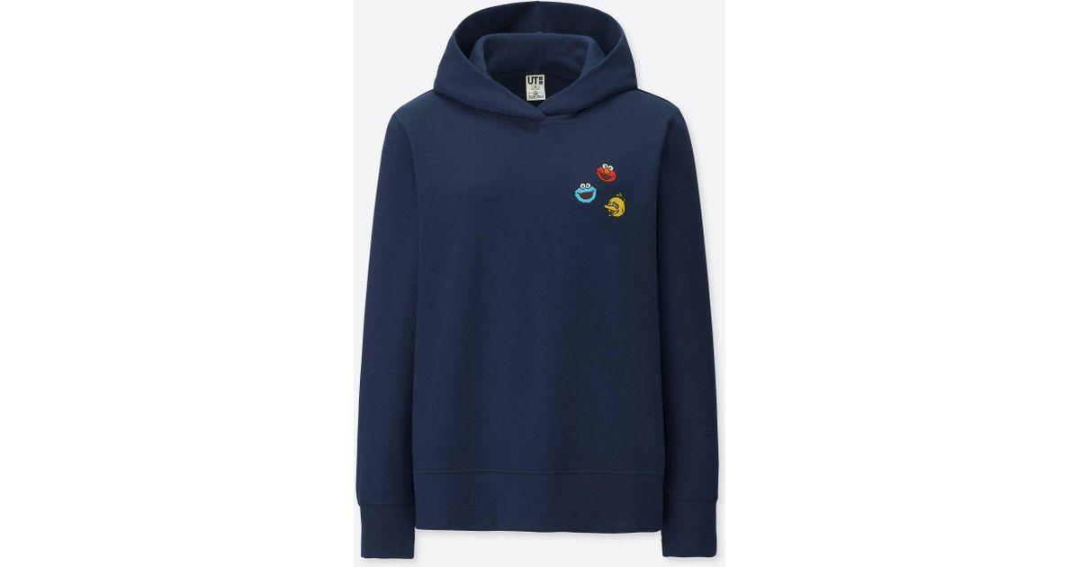 0252970c55d7d Uniqlo Women Kaws X Sesame Street Hooded Sweatshirt in Blue - Lyst