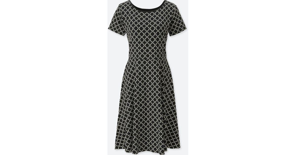 8212bf018f Lyst - Uniqlo Women Geometric-print Short-sleeve Bra Dress in Black